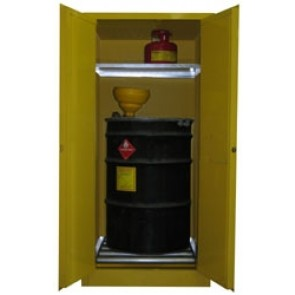 Vertical Drum and Barrel Storage Cabinet  65 Gallon Capacity + Safety Can Storage