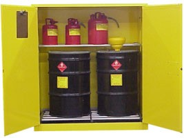 Hazardous Waste Storage Cabinet  55 Gallon Drums. 120 Gal. Self-Close  Self-Latch Safe-T-Door
